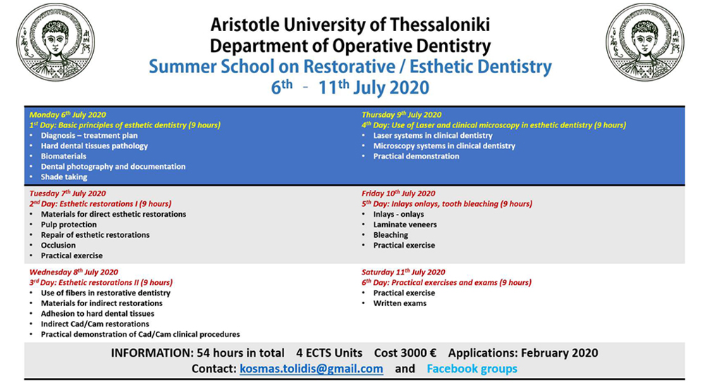 The Summer School of Operative Dentistry Dept at Aristotle University of Thessaloniki